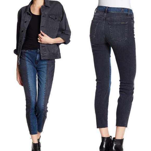7 For All Mankind Denim - 7 fam two tone panel fray hem ankle skinny jeans